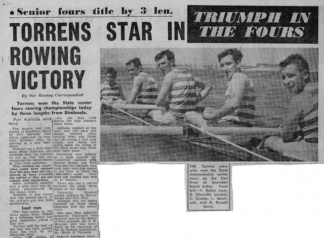 Torrens star in rowing Victory, State Championships 1960