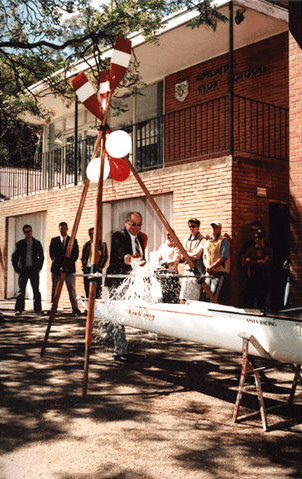 Centenary Opening Day, Bob Russell Christens the new boat 'The Centenary' 2003. Oct '02