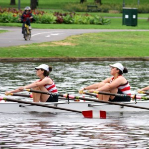 Girls quad rowing on Torrens Lake