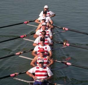 Masters men rowing