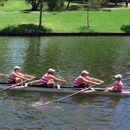 Mens eight rowing crew on Torrens Lake