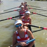 Senior womens eight on the Murray River